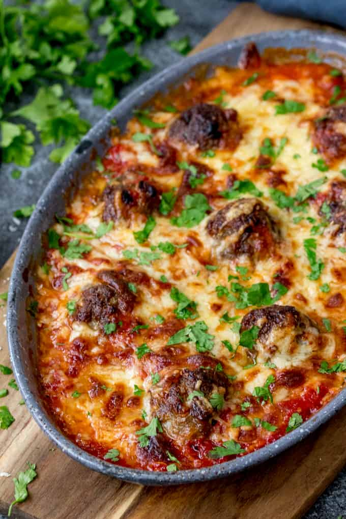 These One-Pot Cheesy Baked Meatballs are perfect when you're cooking for a crowd! Easily made gluten free or as a standby freezer meal.