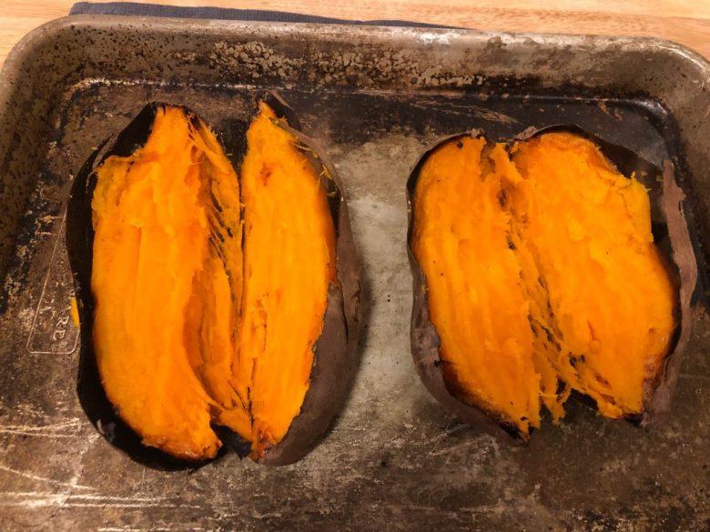 Cut open sweet potato