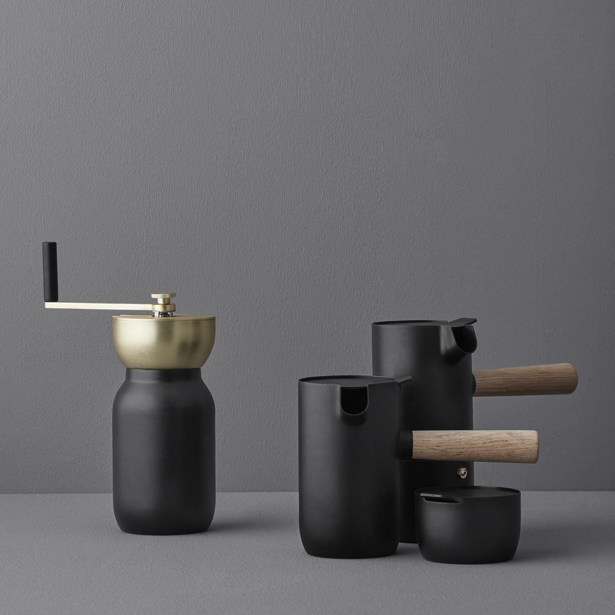 Stelton - Nordic Collar Espresso Brewer, Collar milk jug, Collar coffee grinder, collar sugar bowl