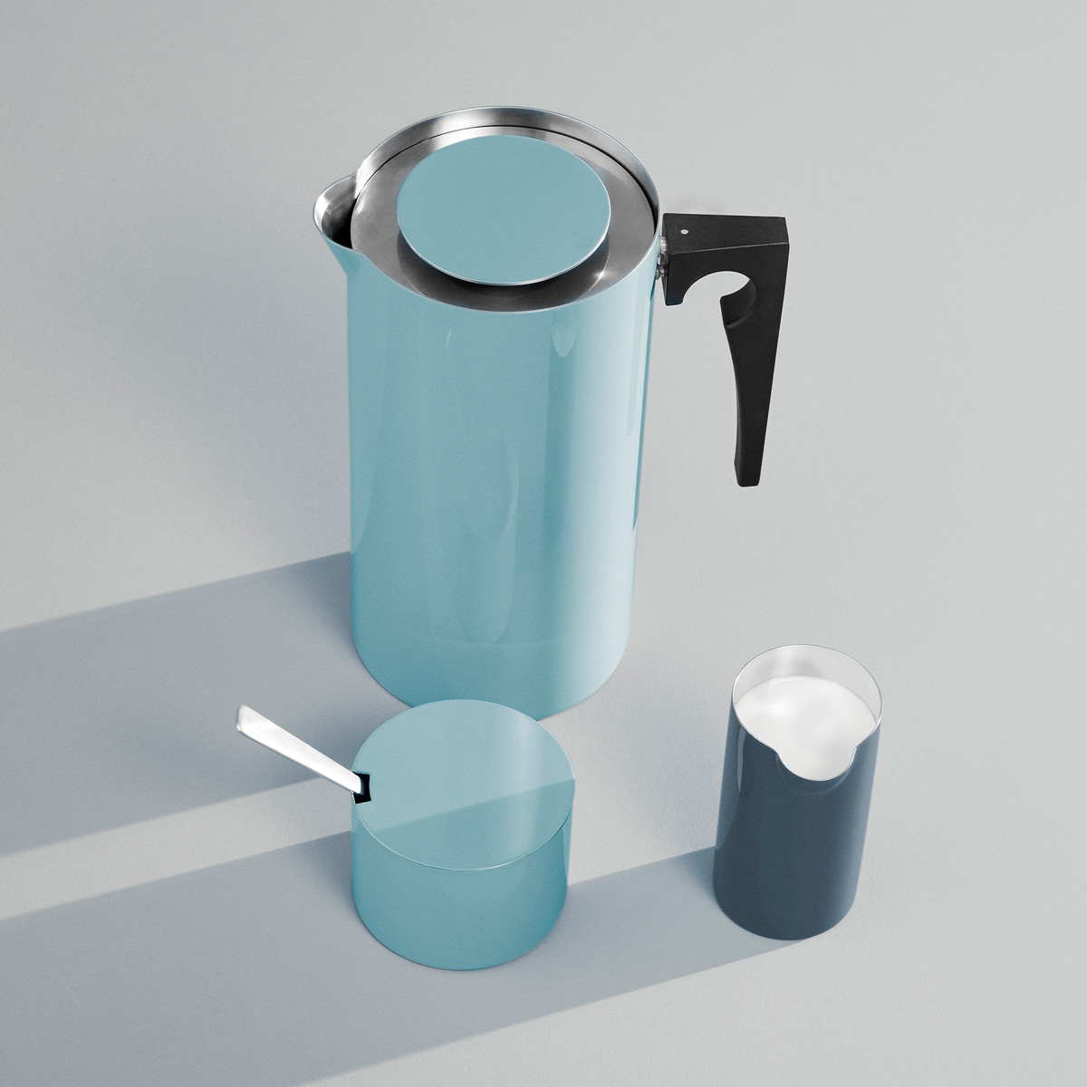 Stelton - Kitchenware Cylinda press coffee maker and sugar bowl in blue and milk jug in ocean blue