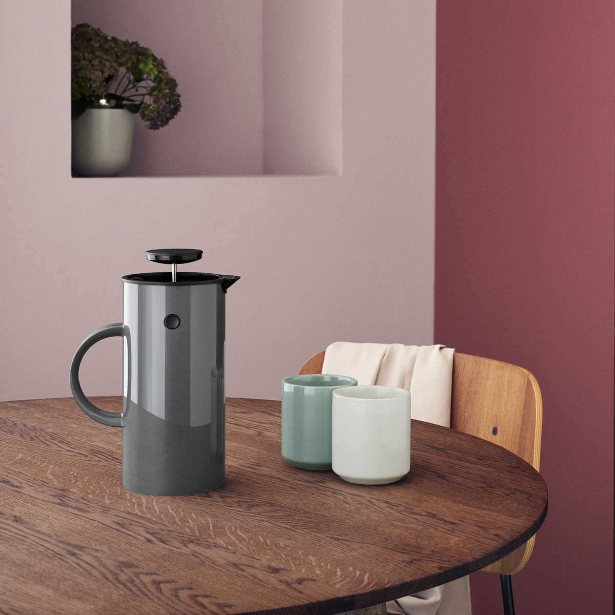 Stelton - Classic EM Press Tea Maker 1L Anthracite and Core Thermos Mug white and green