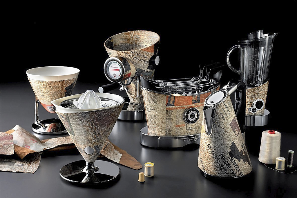 KitchenSpain Bugatti Kitchen Appliances Coffee machine, Kettle, Toaster, Blender, Juicer, Scale and Timer in Leather Newspaper