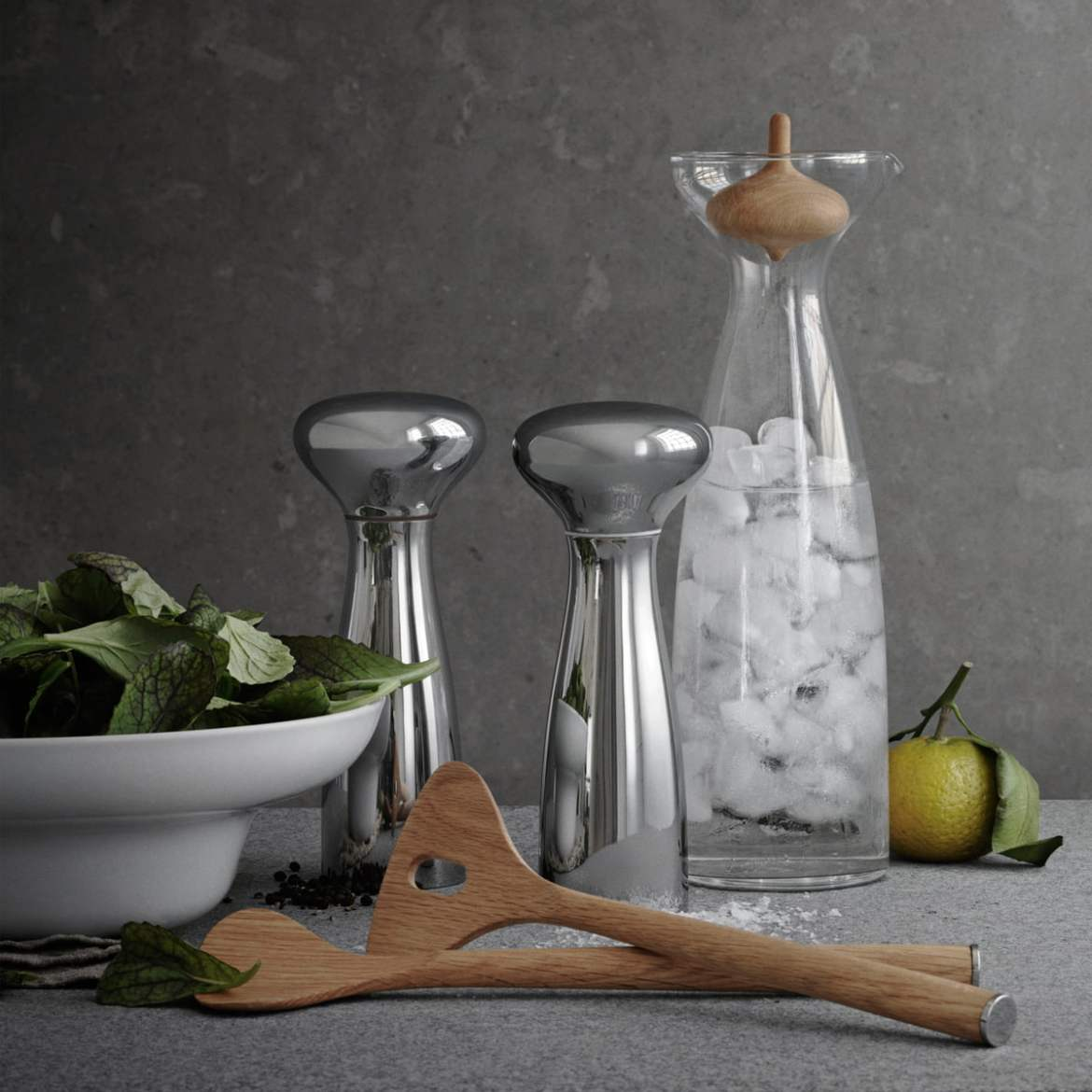 Georg Jensen Alfredo Häberli Vase and Salt and Pepper shakers in stainless steel