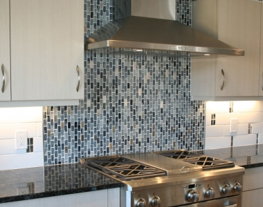 Contemporary Kitchen with Blue Tile