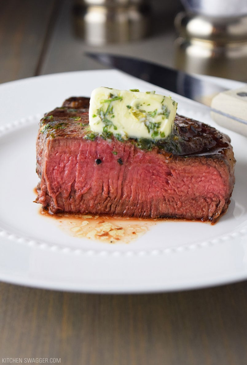 Pan-Seared Filet Mignon with Garlic & Herb Butter Recipe | Kitchen Swagger