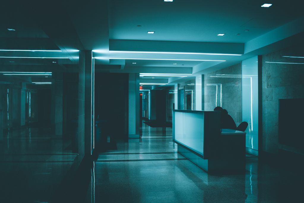 Dark hospital corridor. A detour to the hospital: Sickness derails us