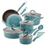 Rachael Ray Cucina Porcelain Enamel Nonstick 12-Piece Cookware Set, Agave Blue