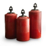American Atelier Canisters, Red, Set of 3