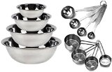 Kitchen MissionTM Stainless Steel Mixing Bowls 1.5,3,4, and 5 quart. Plus Measuring Cup and Spoon Sets, Set of 6