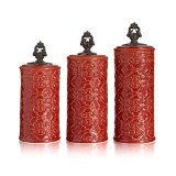 American Atelier Devi 3 Piece Canister Set, Red