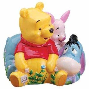 Disney-Store-Huge-POOHS-HERB-GARDEN-Cookie-Jar-with-Eeyore-and-Piglet
