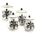 Tuscany Fleur De Lis Just Black White Ceramic