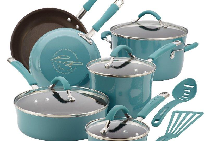 Rachael Ray Cucina Hard Porcelain Enamel Nonstick Cookware Set 12-Piece Agave Blue