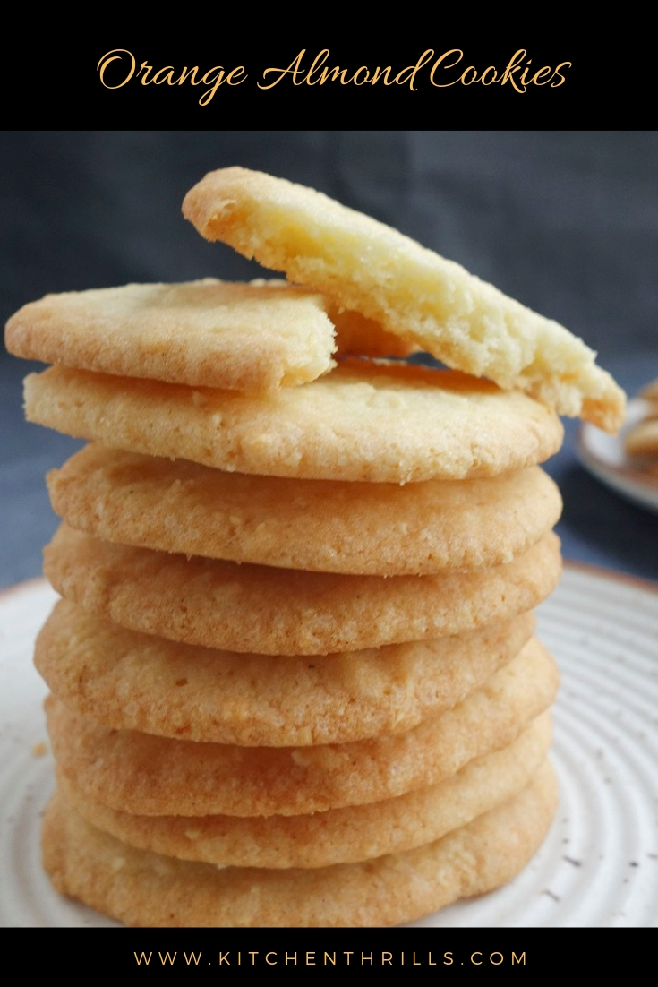 Almond orange cookies: An easy recipe to make at home in just 30 minutes. Best holiday cookies recipe for chrismas and thanksgiving.