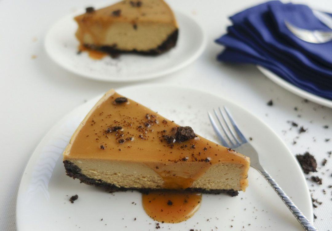 This Oreo coffee cheesecake topped with a layer of gooey caramel is simply the best dessert ever. Perfect for holidays!