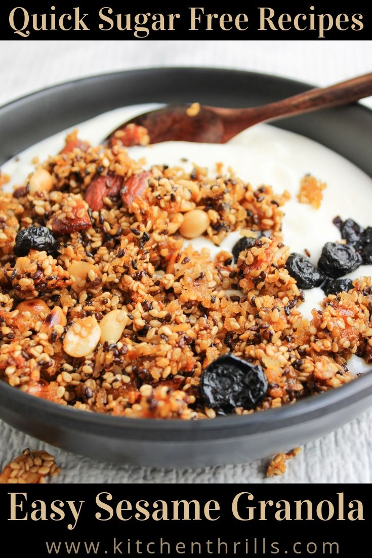 A healthy gluten free homemade sesame granola made with black sesame, white sesame, coconut oil and honey. The best sugar free, gluten free DIY breakfast ready in just 30 minutes. #breakfast #granola