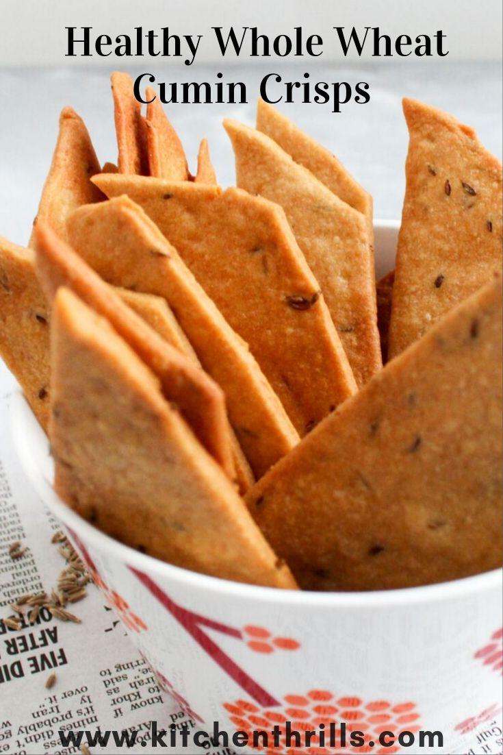 Delicious cumin cookies/jeera biscuits recipe with whole wheat flour, roasted cumin seeds and no refined sugar. These Indian cookies are thin, crisp and tastes best with a hot cup of tea. #bisuits #healthycookies