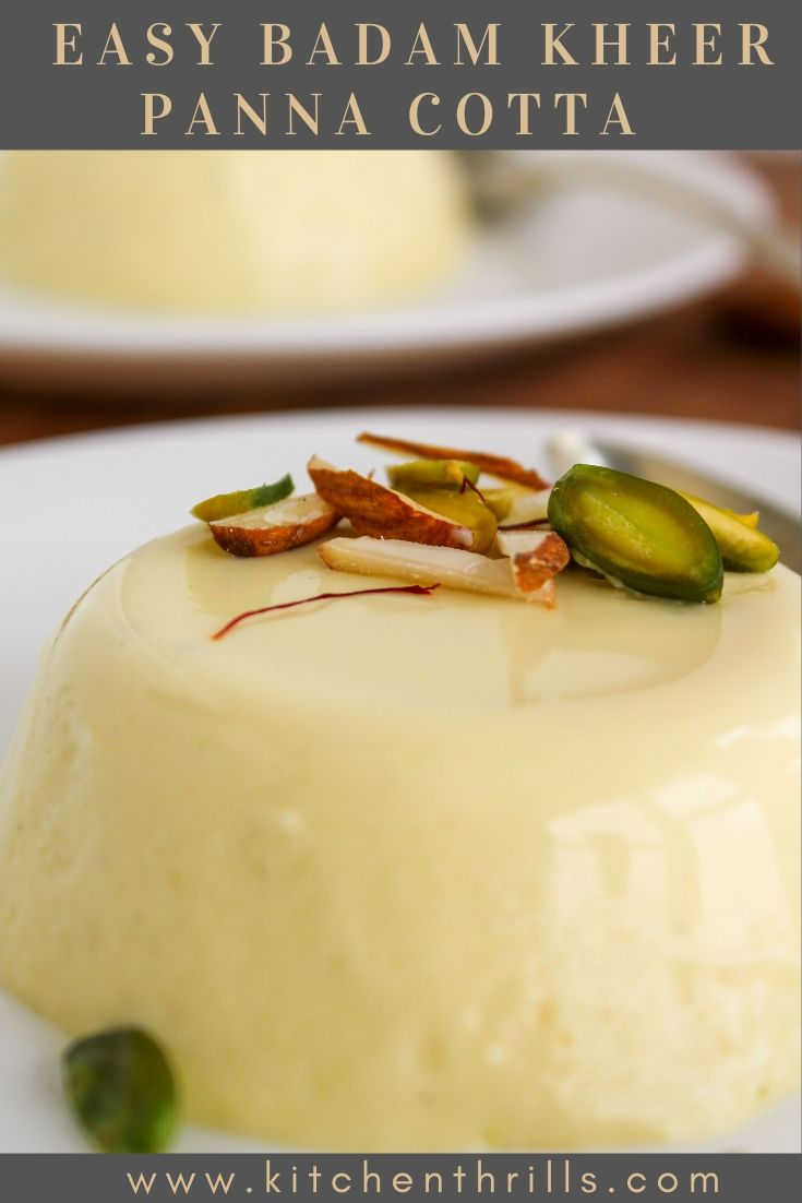 Learn how to make Indian panna cotta recipe with almonds and saffron. A quick and easy dessert for all your parties and family gatherings. #pannacotta #indiandessert