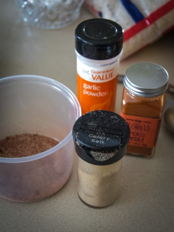 spice mixture - garlic powder, smoked paprika, celery salt