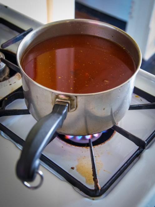 boiling tomato broth