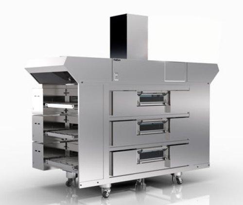 Halton's close-proximity exhaust hood  over a 3 deck oven