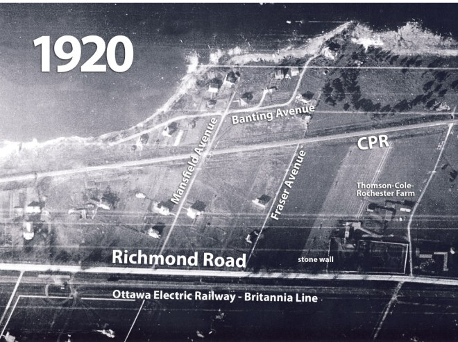 This aerial photo from 1920 shows Richmond Road in the vicinity of Mansfield Avenue. Photo from the National Air Photo Library.