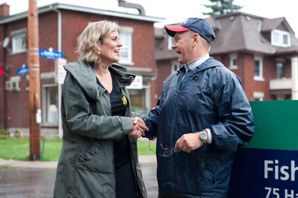Coun. Katherine Hobbs congratulates Brian Kearns at the official unveiling. Photo by Kate Settle.