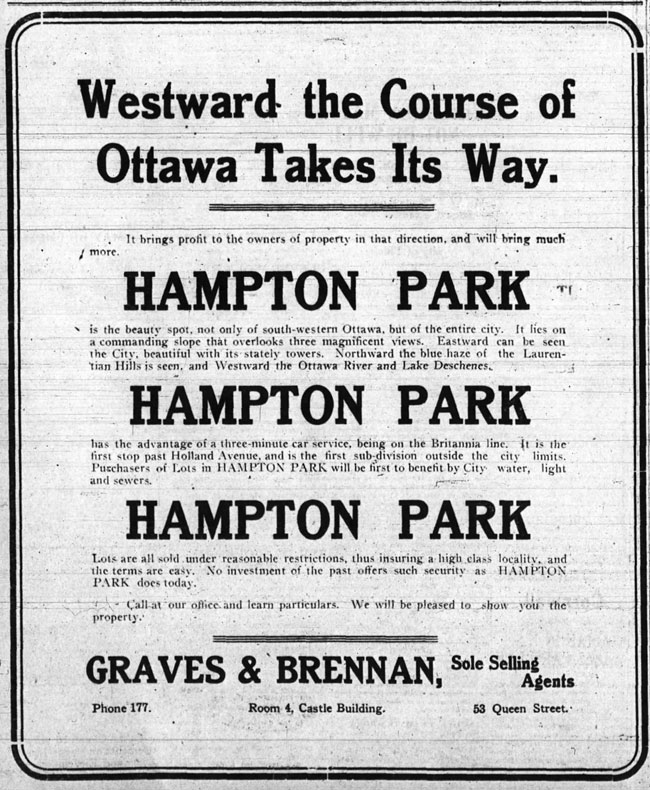 """This ad was published in the Ottawa Journal in 1911. Real estate investors and home builders were promised lots which """"will be first to benefit by City water, light and sewers""""in a """"high class locality."""""""