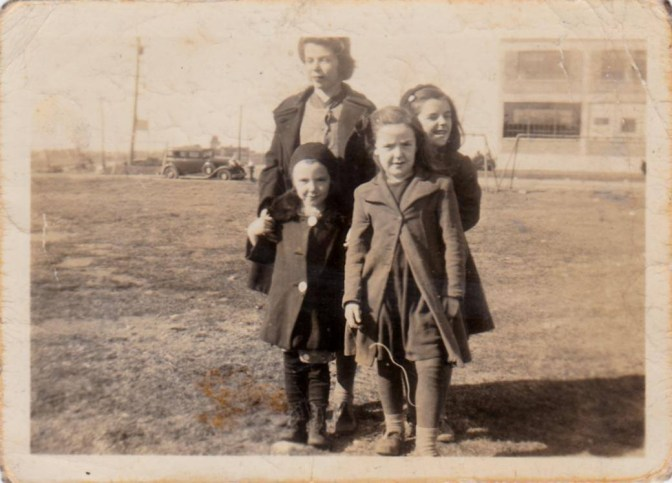 This photo of Therese Trottier, Jeannine Chaput, Jeannette Chaput, and Georgette Chaput was taken at Laroche Park around 1945. Photo courtesy of Nicole Vachon Bergeron