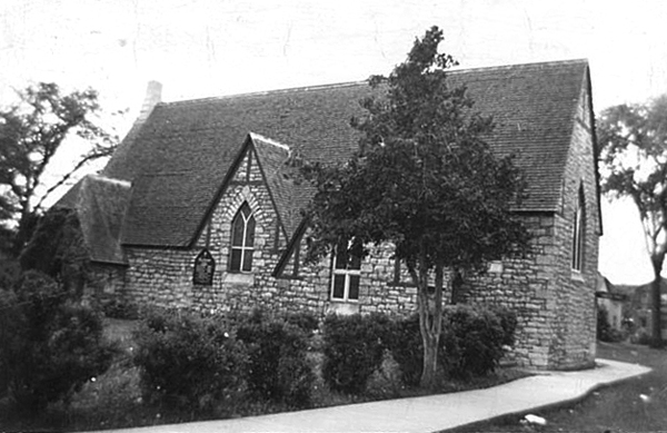 The original All Saints' Church was designed by Thomas Fuller and constructed in 1865. This view is facing Richmond Road. Photo courtesy of the Anglican Diocese ofOttawa archives.