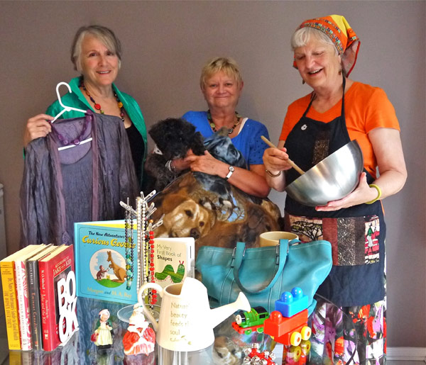 One World Grannies showing off some of the goods available for purchase at the November 14 GRAND Marketplace: Kitchissippi residents Cathy Blauer, Trudy Robertson and Marjorie Kort.