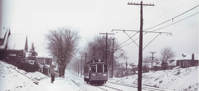 A view of the streetcar, just west of Granville Avenue