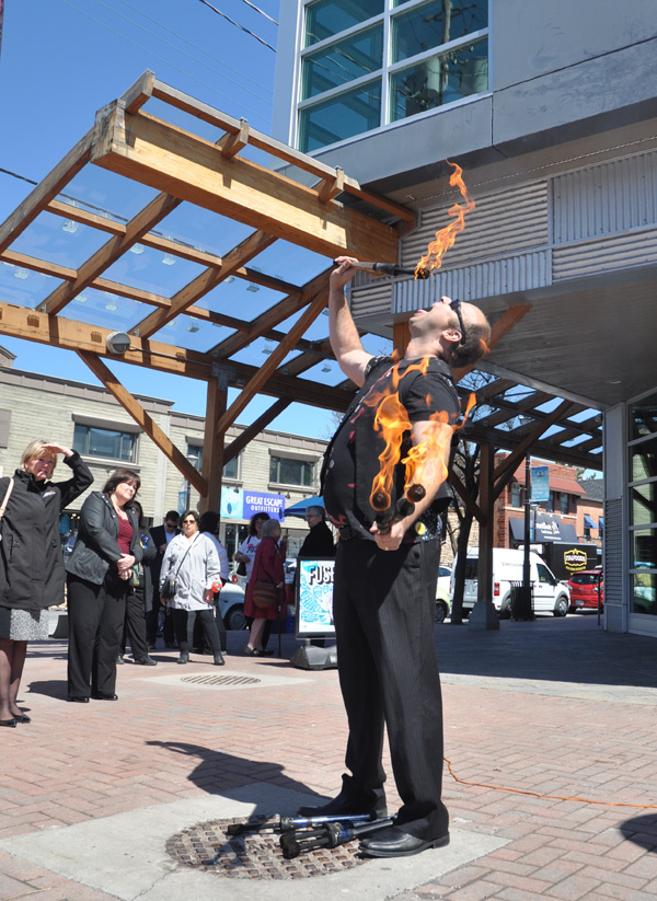 """Performers of all kinds – musician, acrobats, """"fire artists"""" – will fill up the street between Golden Avenue and the Superstore. Photo by Andrea Tomkins"""