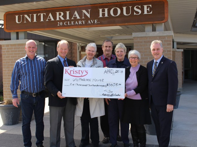 <b>Steve Blake, manager of Kristy's Restaurant; Walter Boyce, owner of Kristy's; Elizabeth Bowen (President of the Unitarian House Resident's Association); Brian and Sandy Castledine (Unitarian House residents); Unitarian House Executive Director Christina O'Neil; and Councillor Mark Taylor.</b>