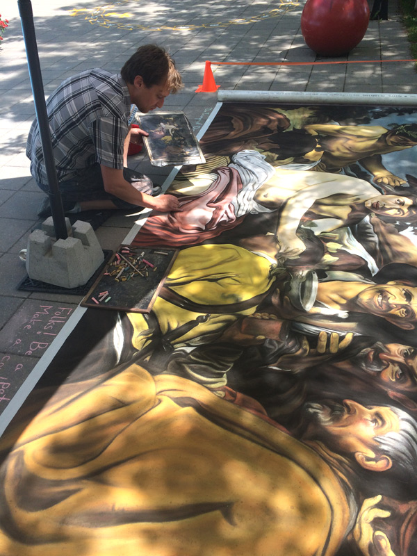 Ottawa pastel and chalk artist, Francois Pelletier, wowed the crowds with his giant pastel reproduction of a Valasquez painting.
