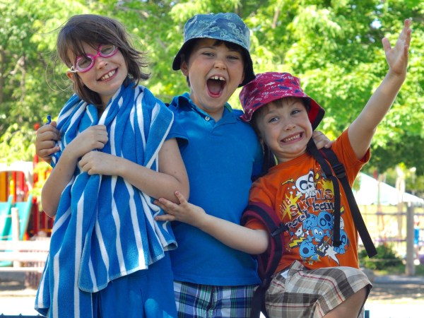 Mackenzie Pollock (8) and her brothers Campbell (7) and Christopher (5) were happy campers this summer.Photo by Andrea Tomkins