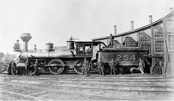Train in front of the new CPR Ottawa West roundhouse, 1884 (LAC PA-203972)