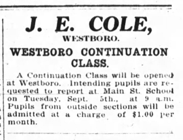 This ad published in the Ottawa Journal on August 30, 1916, announced a new secondary school class in Westboro. The first day of school was September 5, 1916.