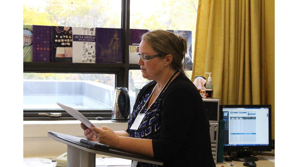 """CBC Radio reporter, Hallie Cotnam, read W.P. KInsella's short story, """"The Thrill of the Grass,"""" to Ms. Smid's yearbook class on Oct. 24 for National Library Day."""