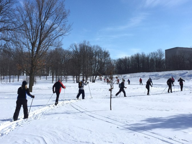 """This photo was taken on the trail's first Saturday in February. """"Luckily the weather was great and I had just finished grooming the day before and word got out on social media,"""" says Dave Adams, manager and head groomer of the SJAM Winter Trail. """"That picture says it all."""" Photo by Dave Adams"""