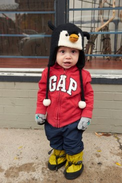 Tatum dressed as a penguin.