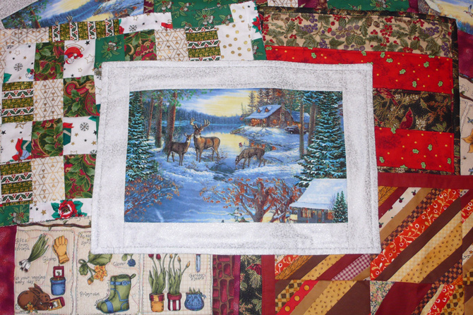 Photo of OVQG holiday placemats by Janice Henderson.