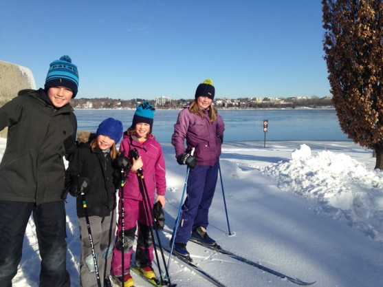 Max Magnusson (13), Avery Magnusson (8), Camryn Magnusson (8), Marley Magnusson (12) skiing on the SJAM. Photo submitted by Darcy Gillespie