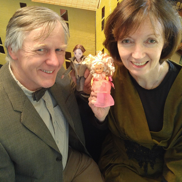 Rag & Bone Puppet Theatre's John Nolan and Kathy MacLellan with doll characters from The Dolls' House, an adaptation of a Rumer Godden story which will première at GCTC's Studio Theatre during March Break. Photo by Heather Jamieson