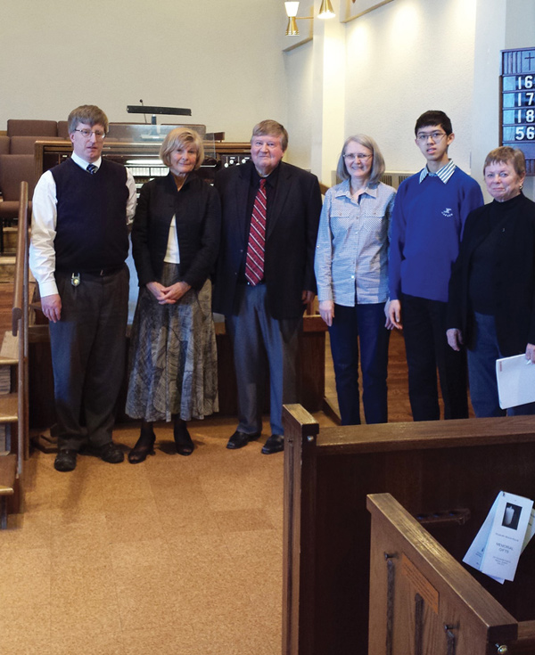 Donald Russell, Vija Kluchert, Donald Marjerrison, Dianne Smith, Samuel Lee and Sondra Goldsmith-Proctor at the Woodroffe United Church. Some of these musicians will be performing at this year's Bach marathon on April 22. Photo submitted by Alison Kranias