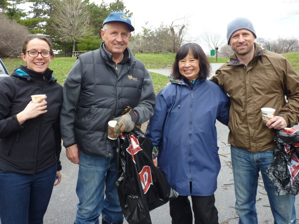Members of the Westboro Beach Community Association working together with the Ottawa Riverkeeper (L-R): Julia Levin, Bob Huson, Mari Wellman, Mark Brooks.