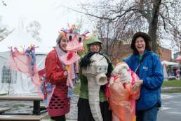 The Shanima puppet players, who won an arts grant at last year's Happening, bring smiles and colour to a rainy Saturday.