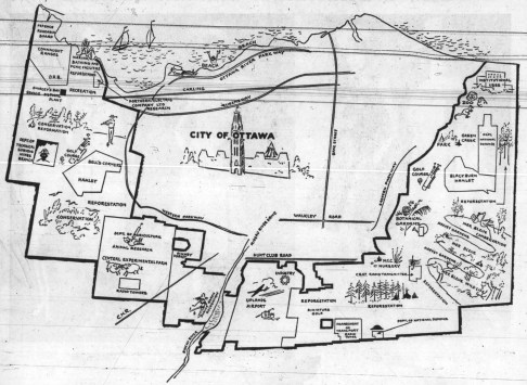 This illustration from a 1961 edition of the Ottawa Journal shows the proposed parkway and beaches all along the way through Kitchissippi and major landmarks proposed around the city core.