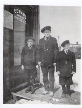 A photo from 1916 of Bert, Jack, Bill Eggens outside Lambert Eggens' grocery store. Photo courtesy of Lorraine Eggens.
