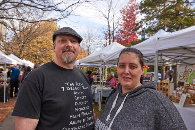 "Jeff and Stephanie King: ""The market is local, and it's fun to come to. We also get pork hearts for our dog, and bread and soup for us."""